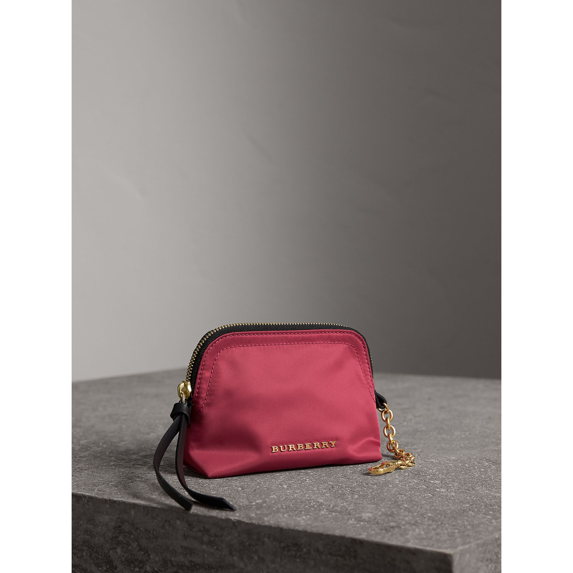 Small Zip-top Technical Nylon Pouch in Plum Pink - Women | Burberry - gallery image 5