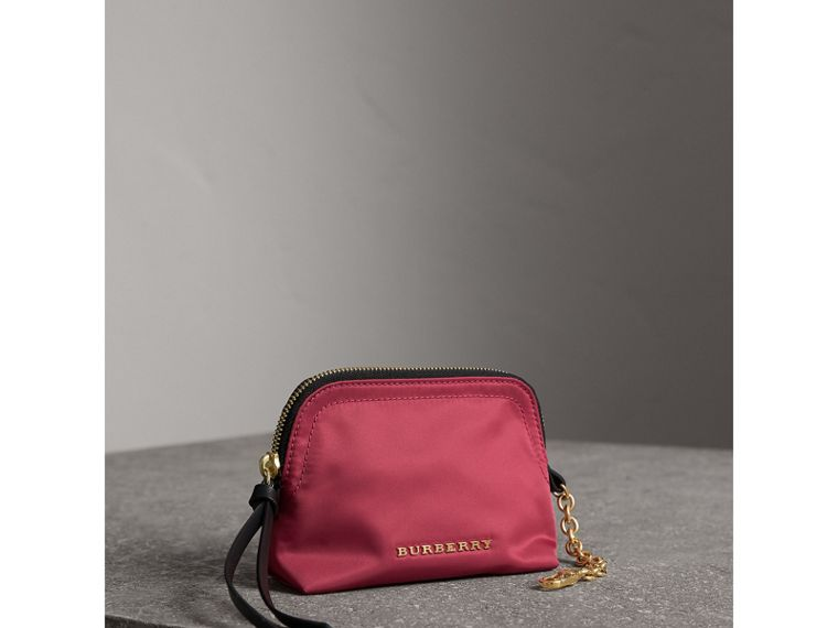 Small Zip-top Technical Nylon Pouch in Plum Pink - Women | Burberry - cell image 4