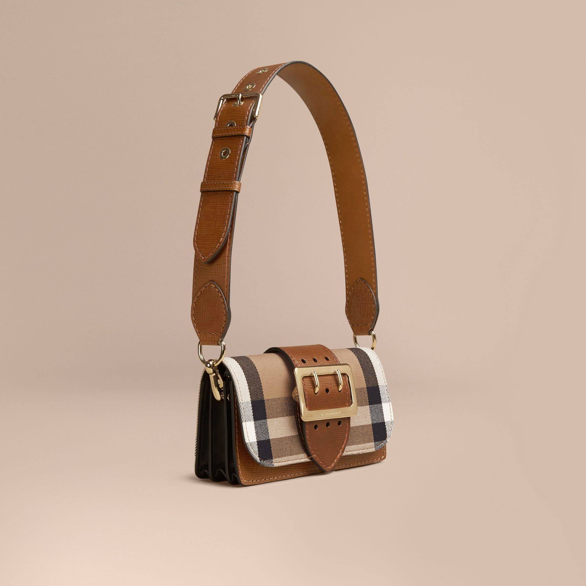 The Small Buckle Bag in House Check and Leather Tan - gallery image 1