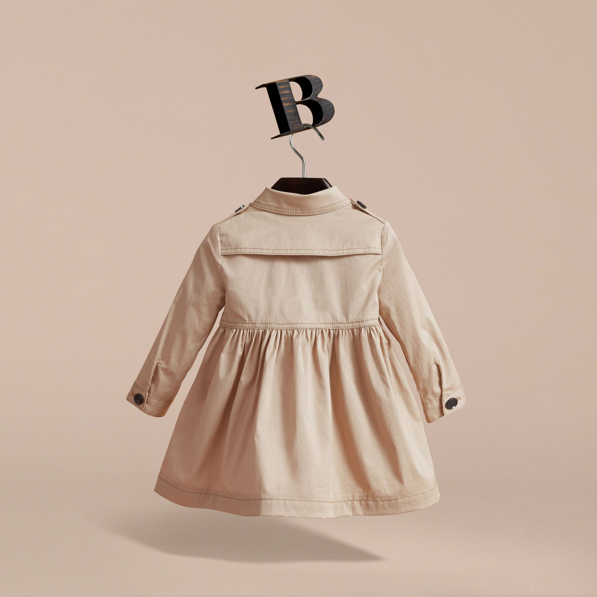 Stretch Cotton Trench Dress in Honey - Children | Burberry - gallery image 4