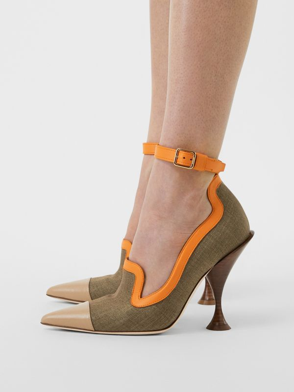 Canvas and Leather Point-toe Pumps in Camel - Women | Burberry Australia - cell image 2