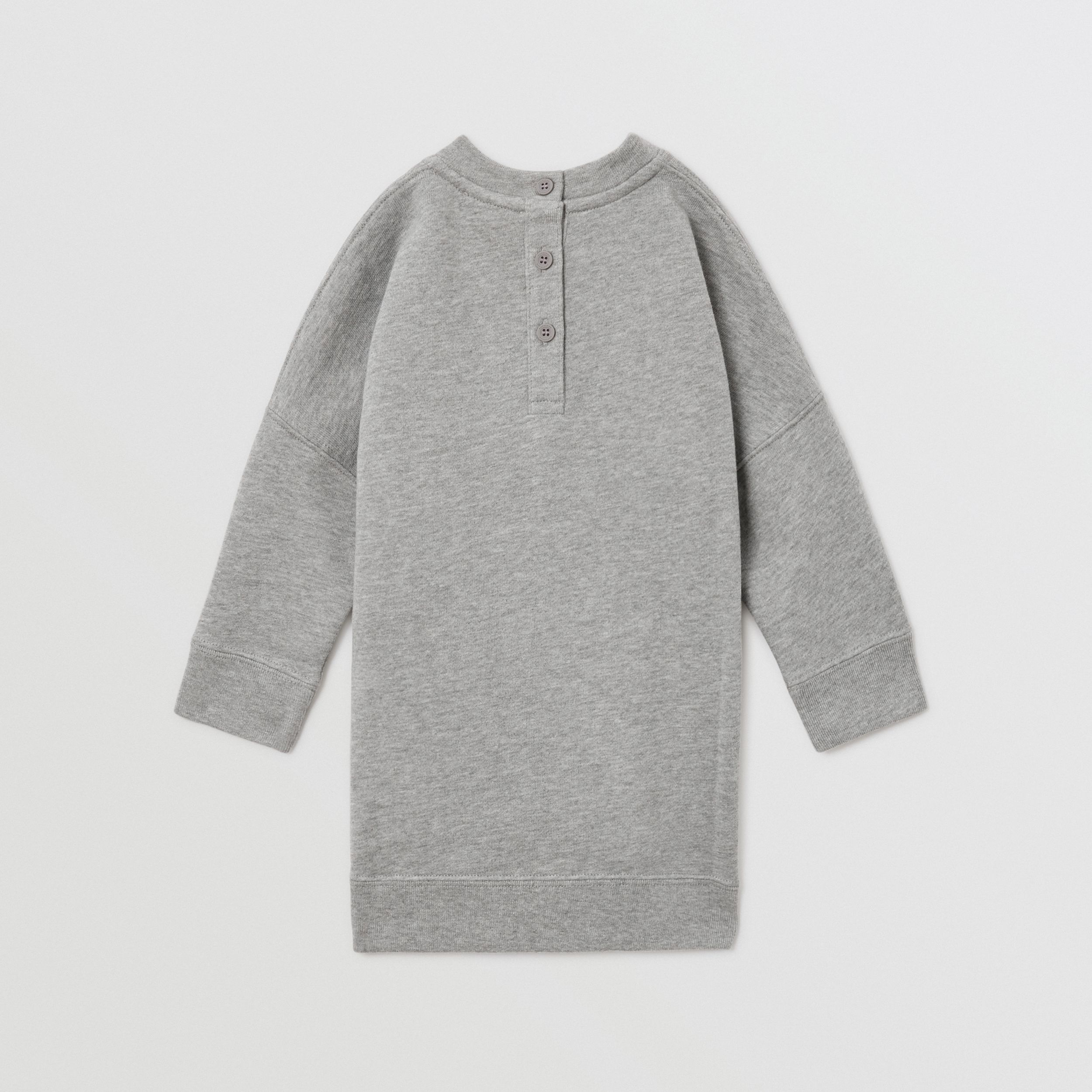 Thomas Bear Appliqué Cotton Sweater Dress in Grey Melange - Children | Burberry - 4