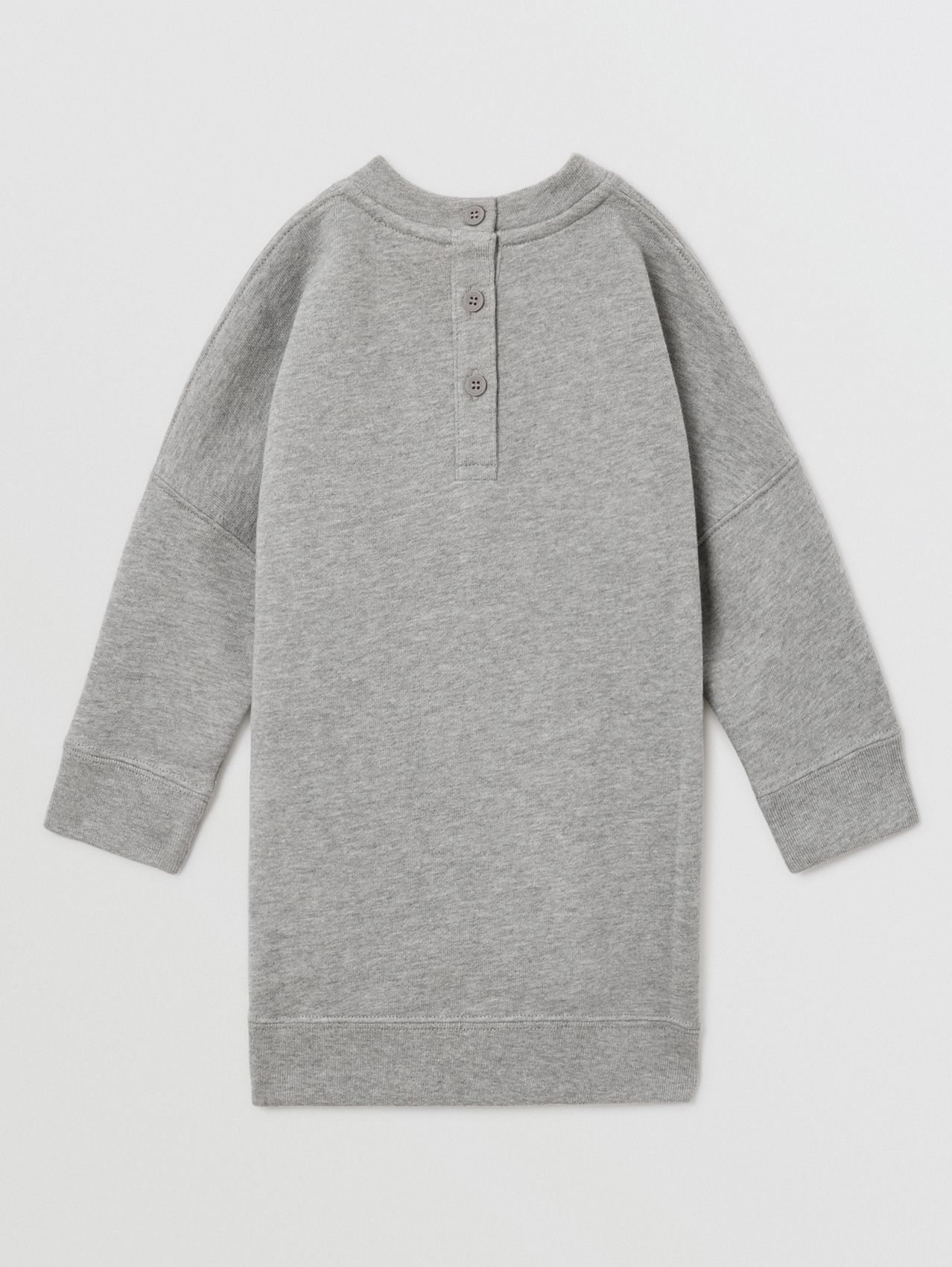 Thomas Bear Appliqué Cotton Sweater Dress in Grey Melange