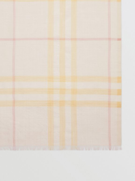 Lightweight Check Wool and Silk Scarf in Primrose | Burberry - cell image 1