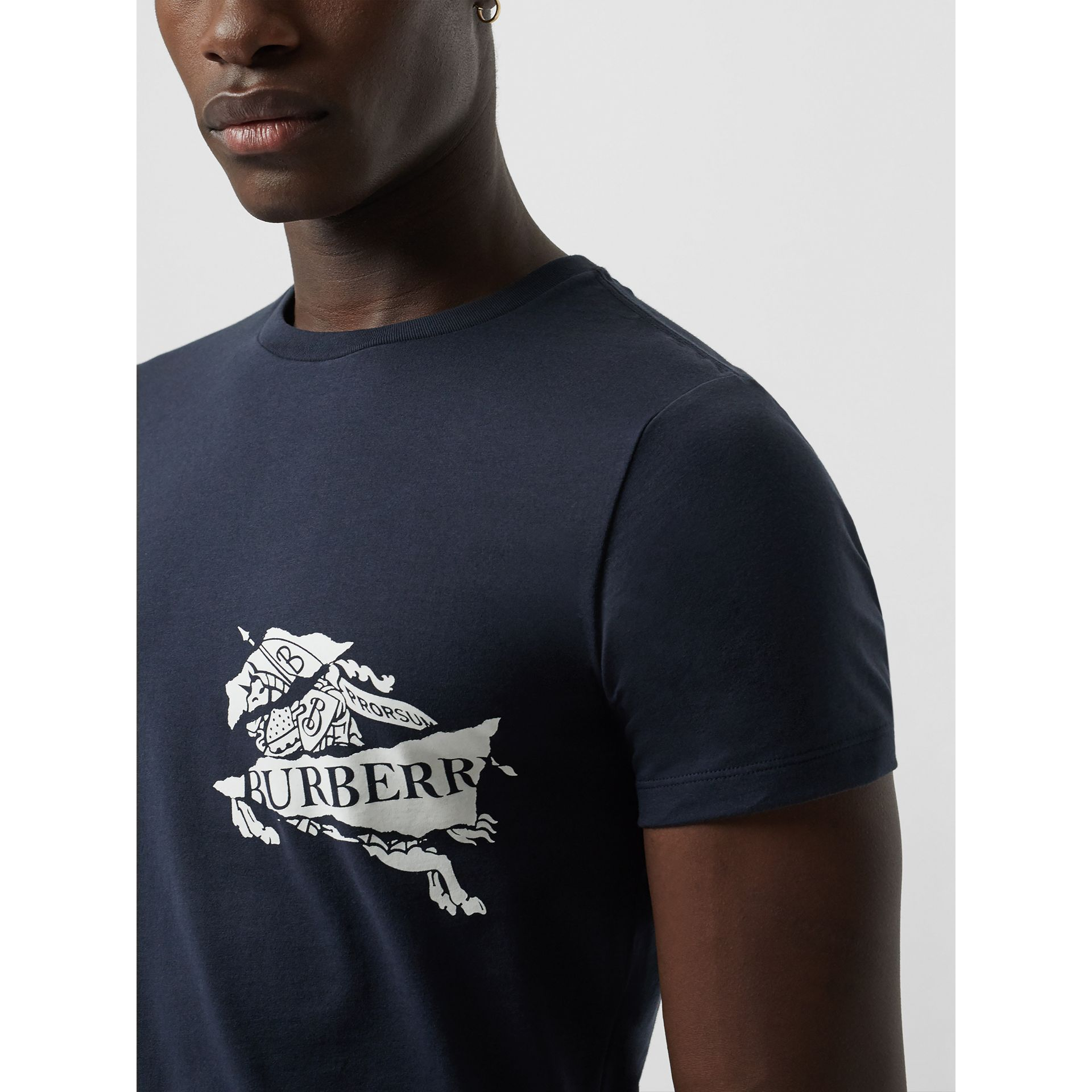 Collage Logo Print Cotton T-shirt in Navy - Men | Burberry - gallery image 1
