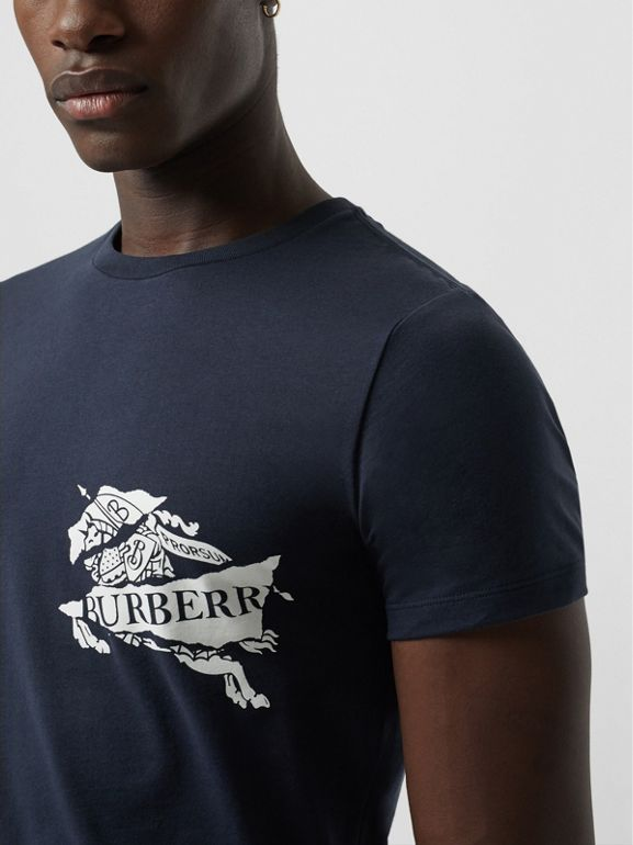 Collage Logo Print Cotton T-shirt in Navy - Men | Burberry - cell image 1
