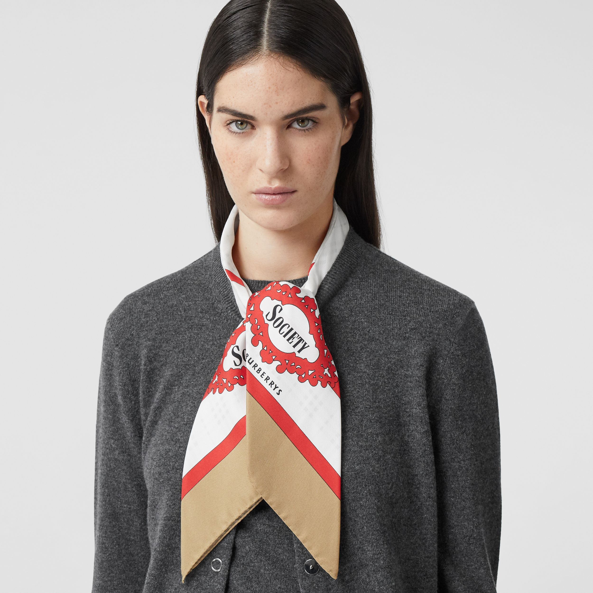 Silk Scarf Detail Cashmere Cardigan in Grey Melange - Women | Burberry - 2