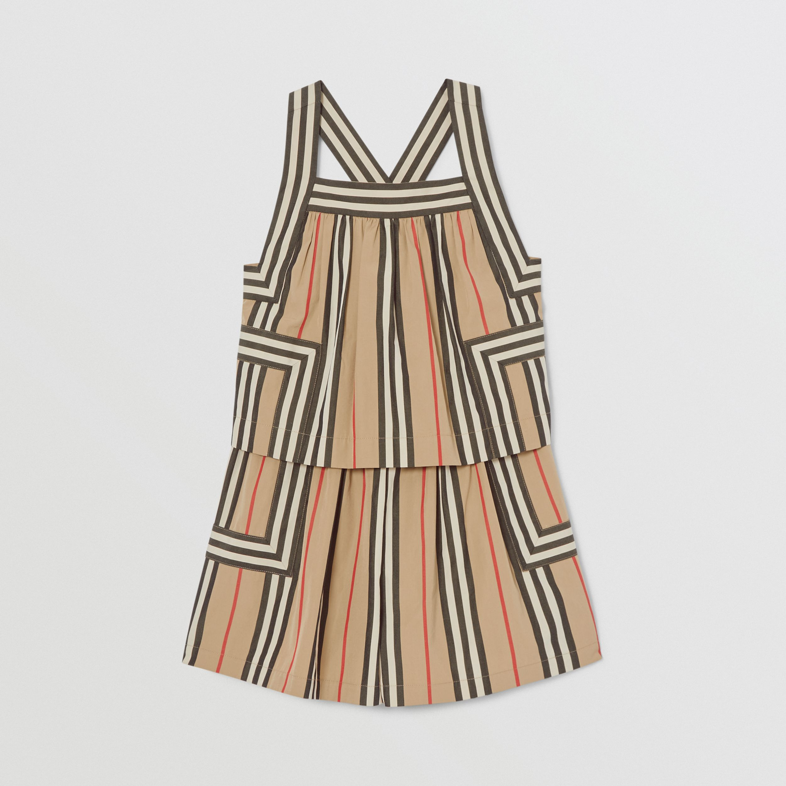 Icon Stripe Cotton Poplin Playsuit in Archive Beige | Burberry - 1