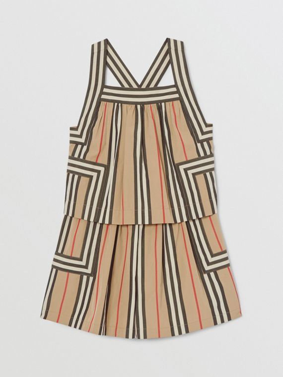 Icon Stripe Cotton Poplin Playsuit in Archive Beige