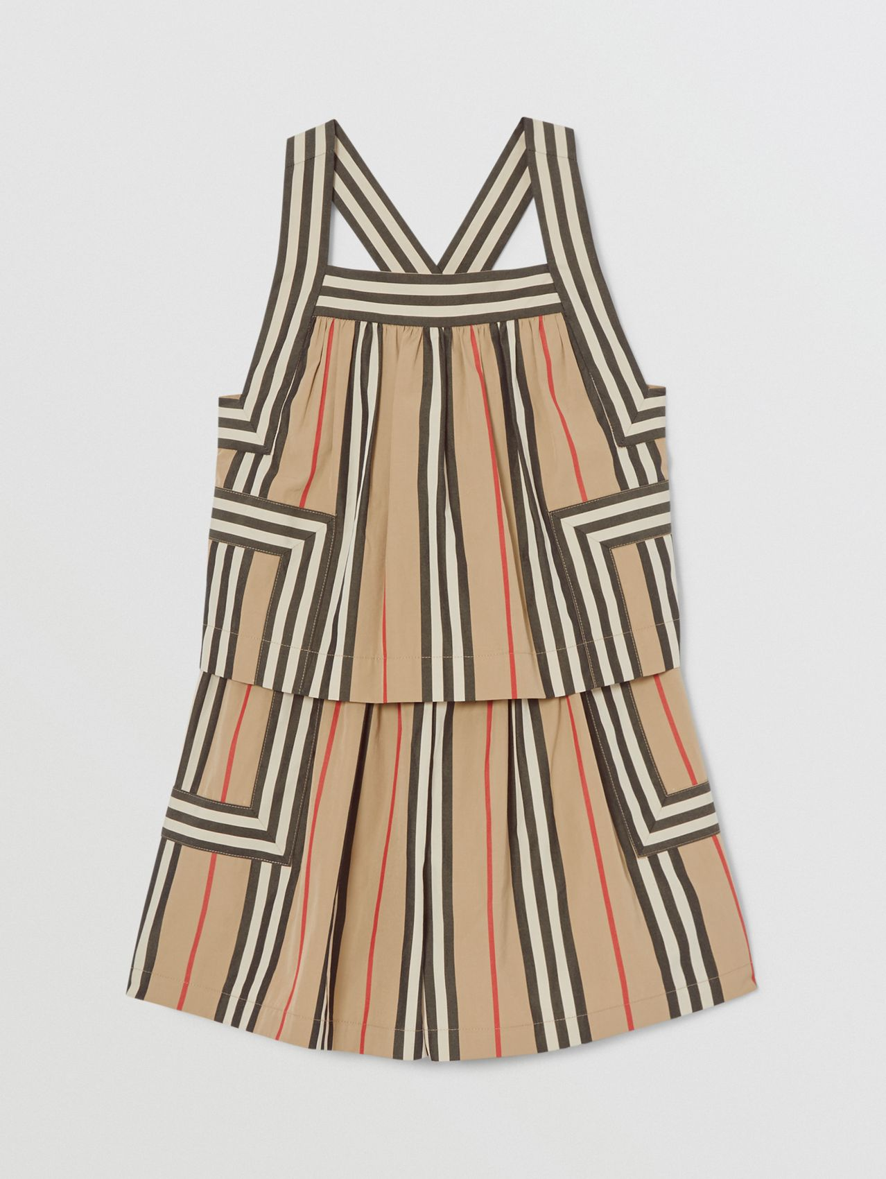 Icon Stripe Cotton Poplin Playsuit (Archive Beige)