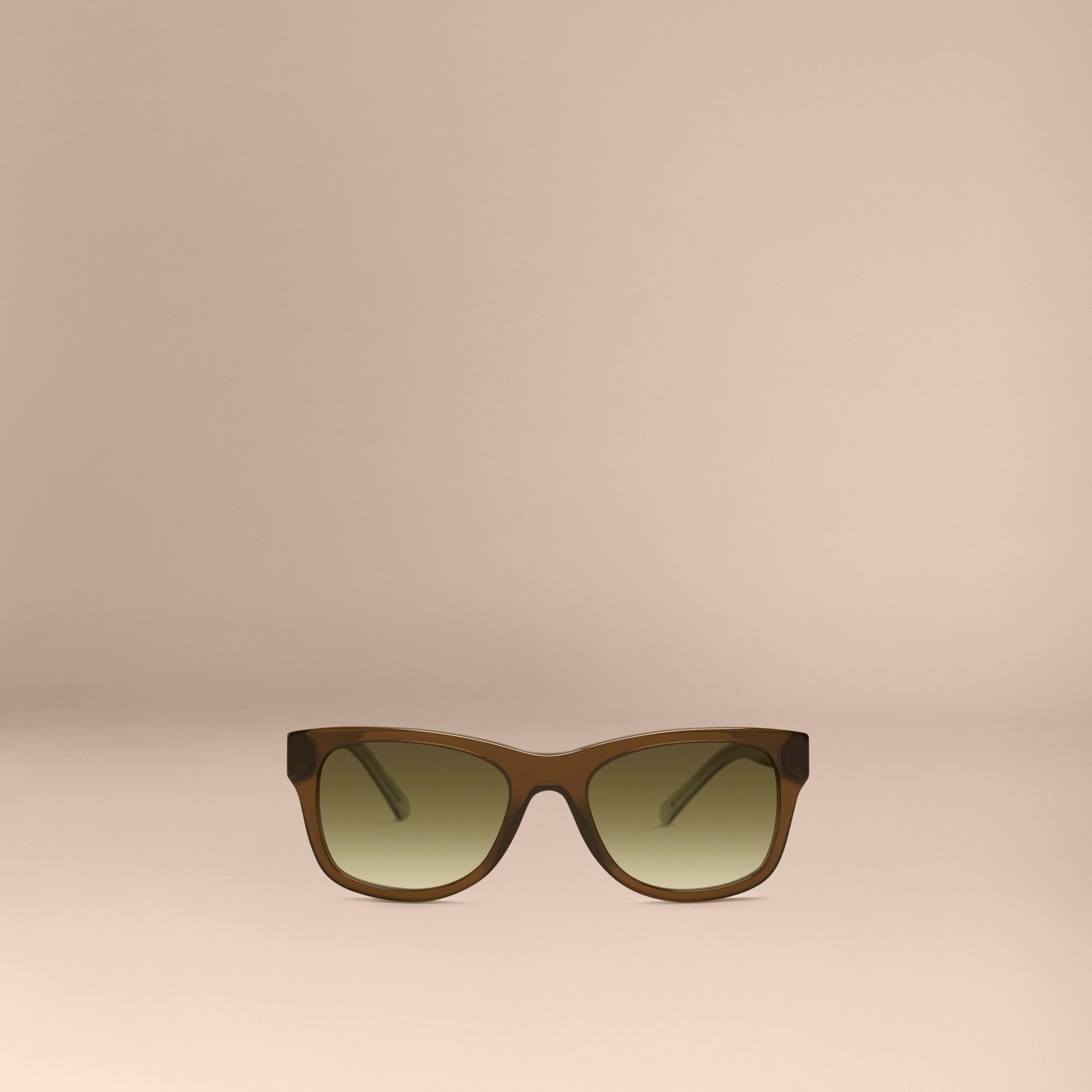Verde oliva Óculos de sol com armação quadrada e detalhe xadrez Verde Oliva - galeria de imagens 3
