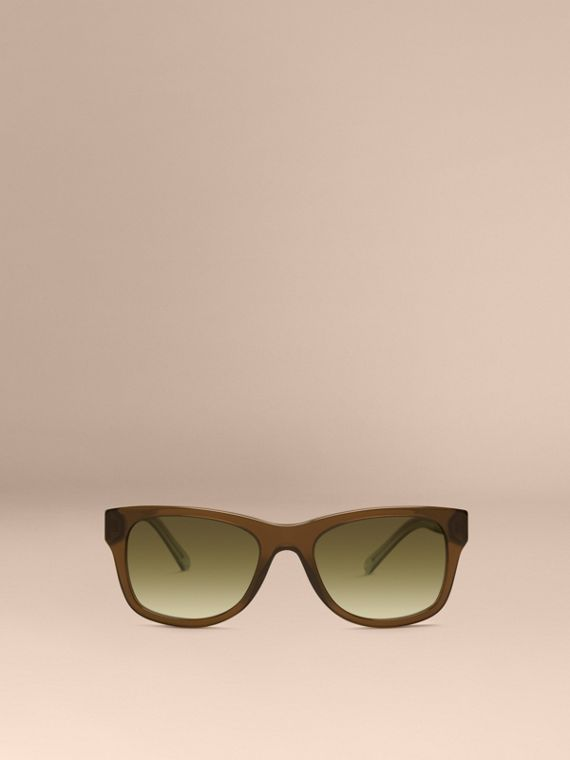 Olive Check Detail Square Frame Sunglasses Olive - cell image 2
