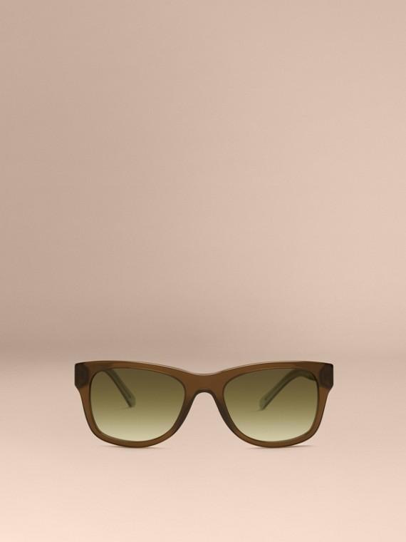 Verde oliva Óculos de sol com armação quadrada e detalhe xadrez Verde Oliva - cell image 2