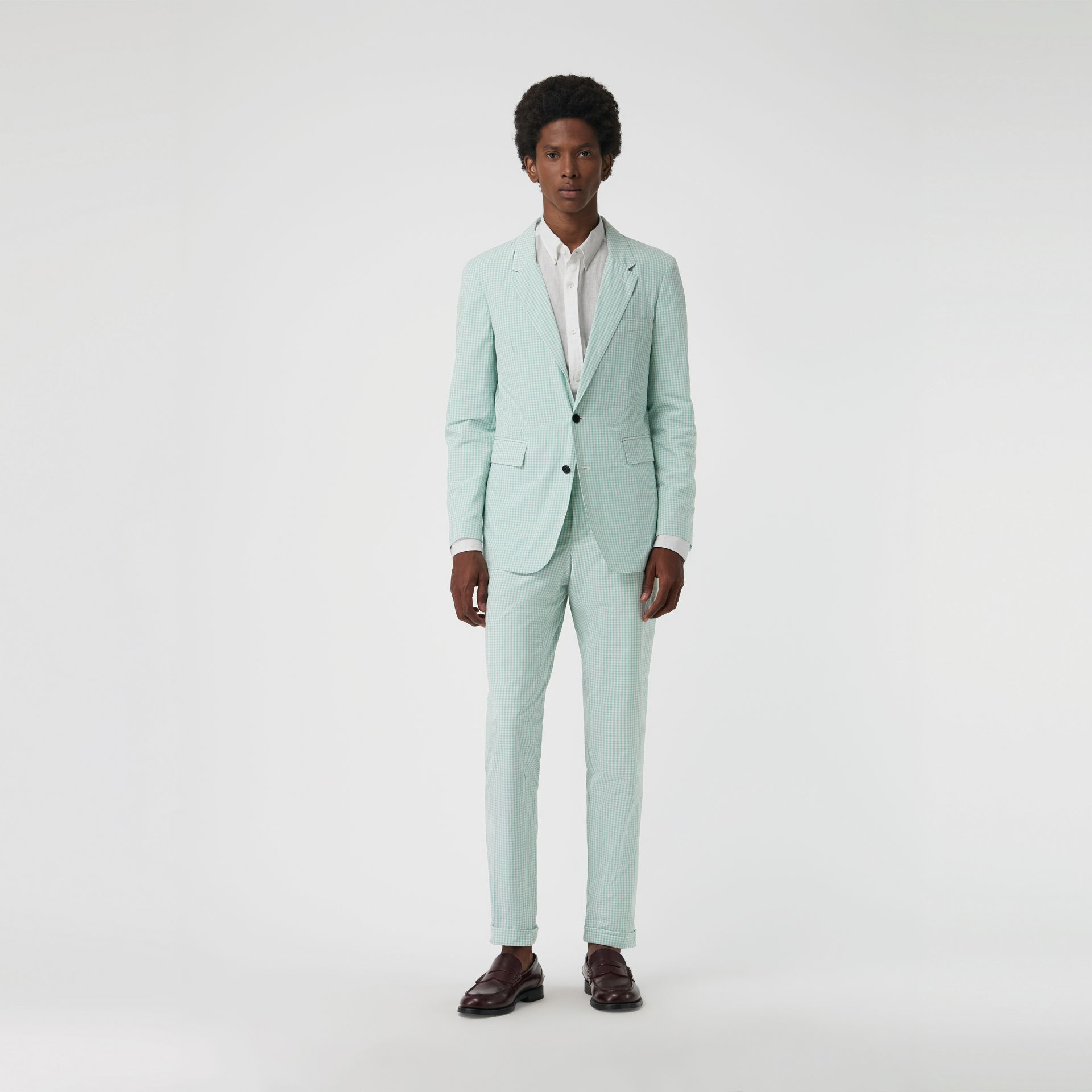 Gingham Cotton Tailored Trousers in Pale Opal - Men | Burberry Canada - gallery image 4