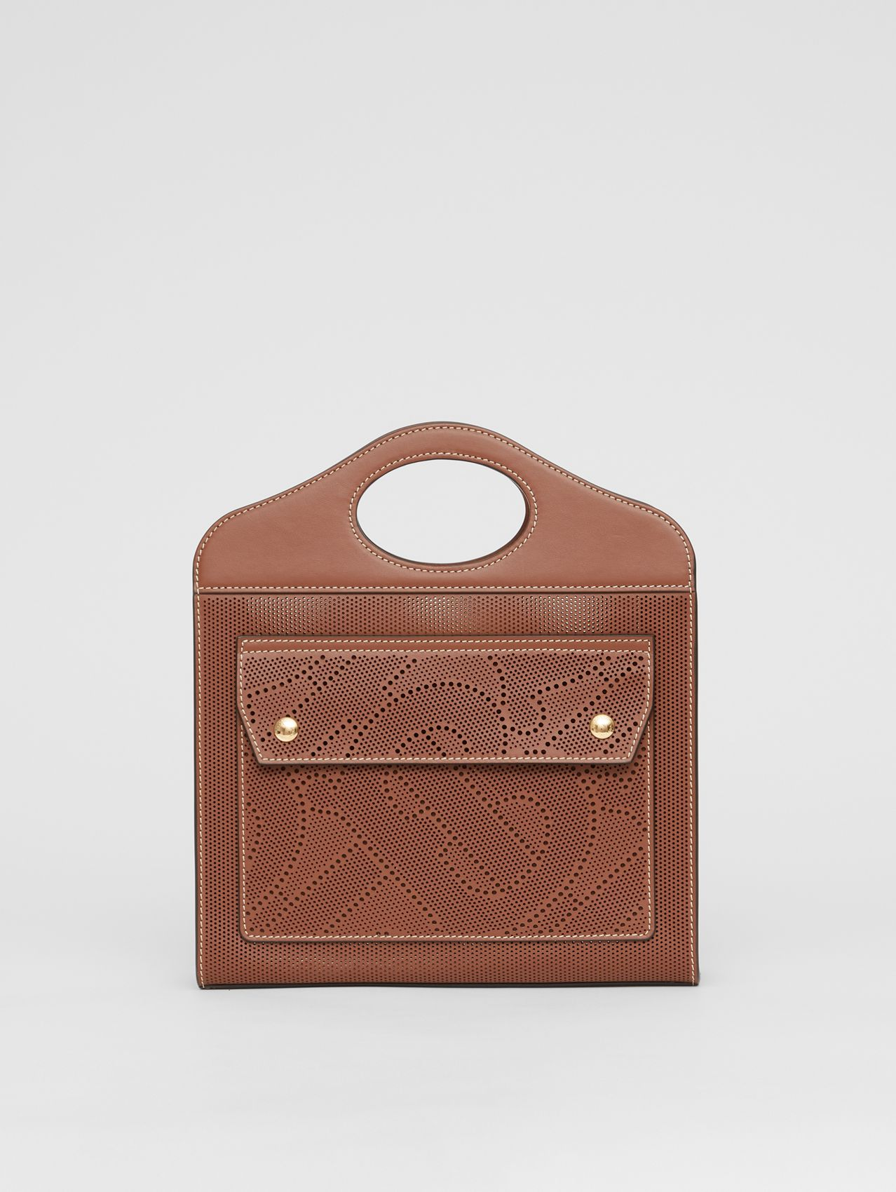 Mini Perforated Monogram Leather Pocket Bag in Tan