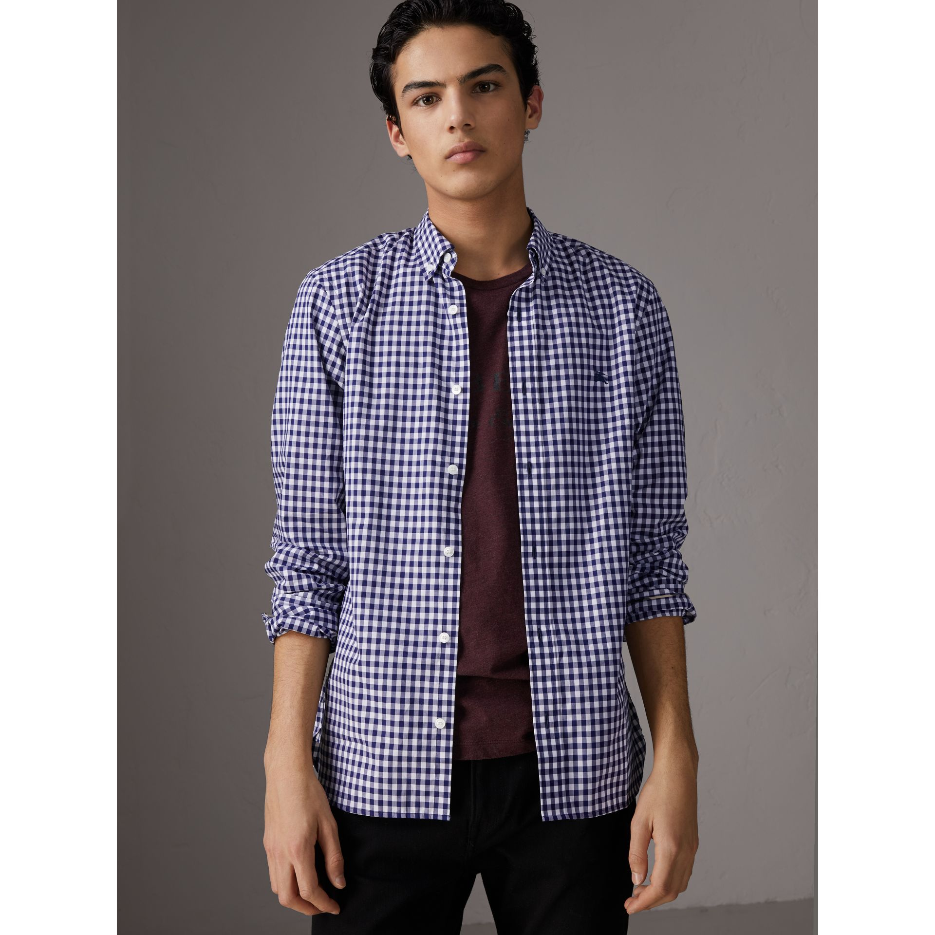 Button-down Collar Gingham Cotton Shirt in Navy - Men | Burberry United Kingdom - gallery image 5