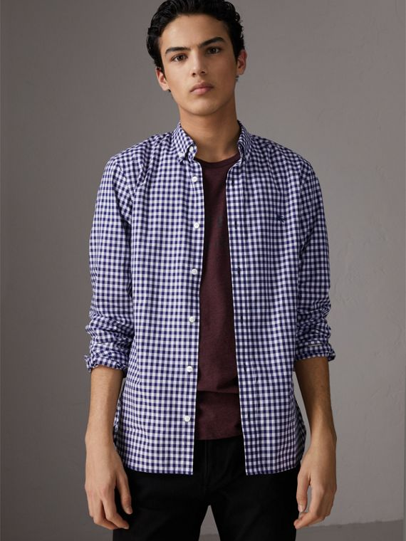 Camicia vichy in cotone con colletto button-down (Navy)
