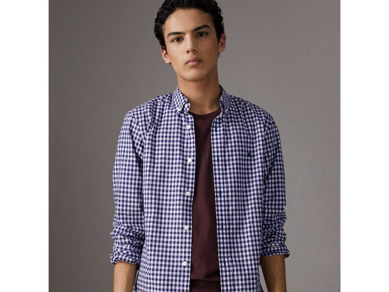 Button-down Collar Gingham Cotton Shirt in Navy - Men | Burberry United Kingdom - cell image 4