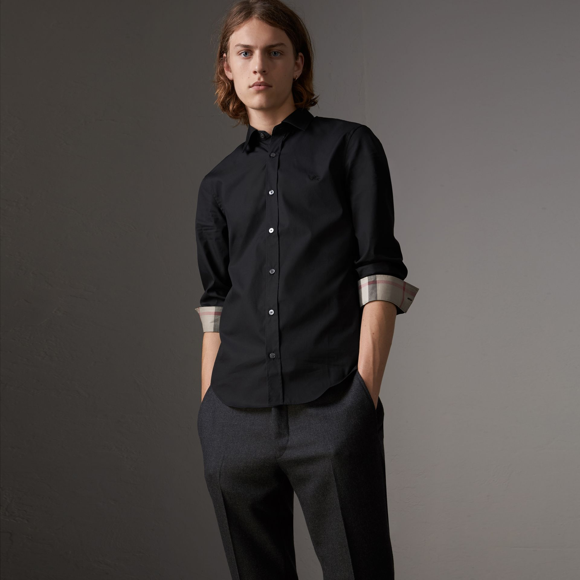 Check Detail Stretch Cotton Poplin Shirt in Black - Men | Burberry - gallery image 0
