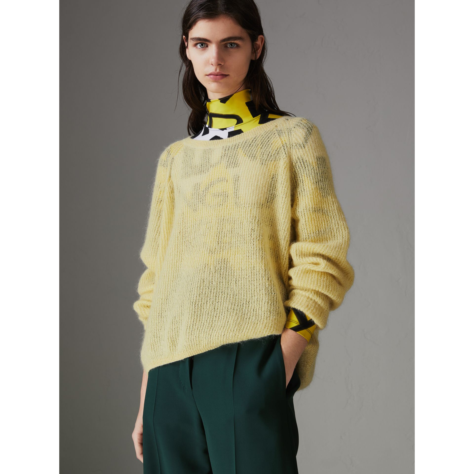 Mohair Silk Blend Sweater in Yellow Barley - Women | Burberry - gallery image 4