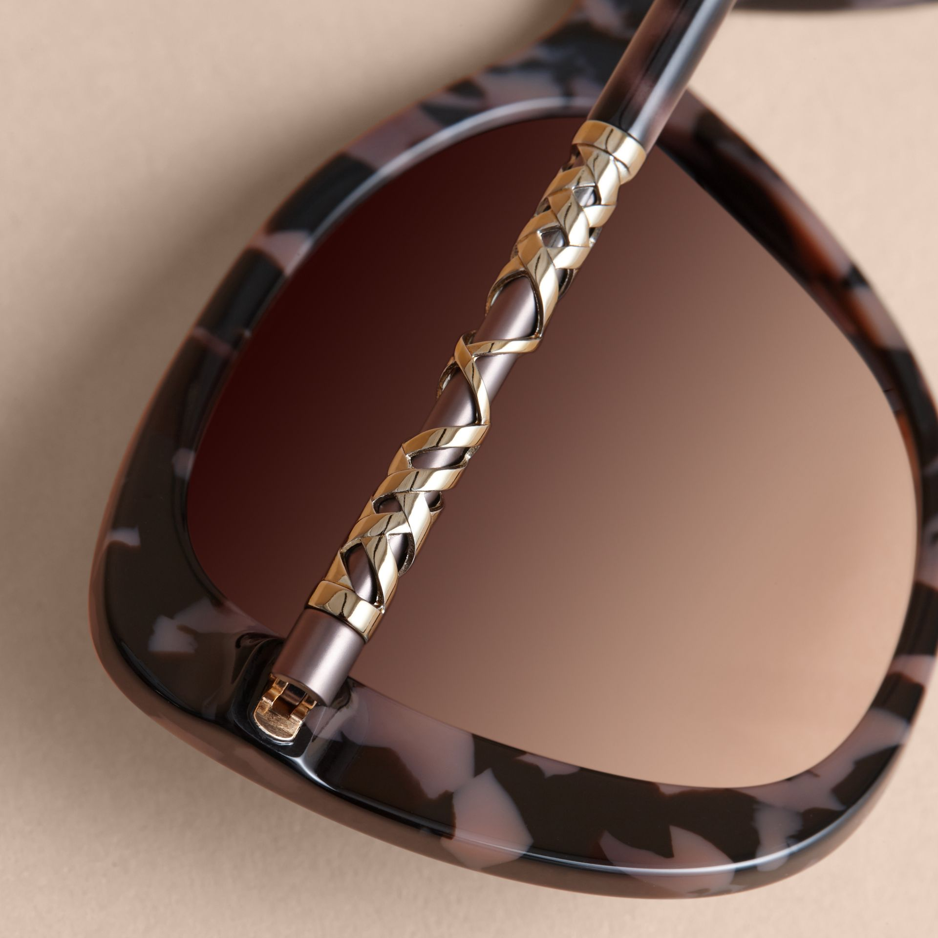Check Detail Butterfly Frame Sunglasses in Tortoiseshell - gallery image 2