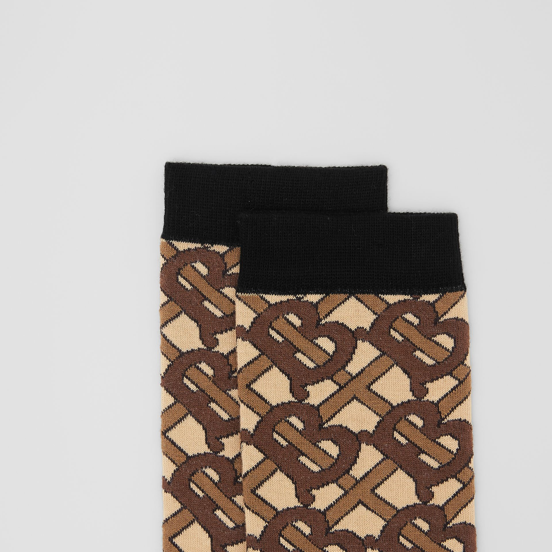 Monogram Intarsia Cotton Blend Socks in Bridle Brown | Burberry Australia - gallery image 1