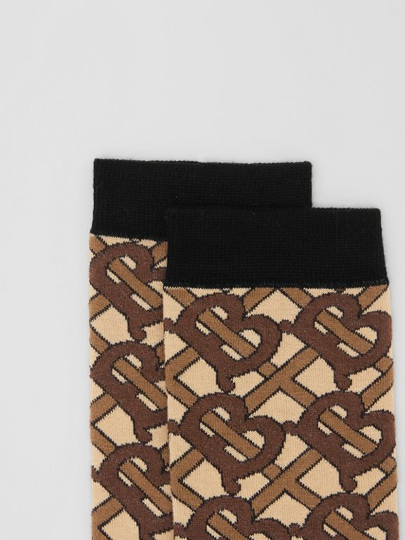 Monogram Intarsia Cotton Blend Socks in Bridle Brown | Burberry Australia - cell image 1