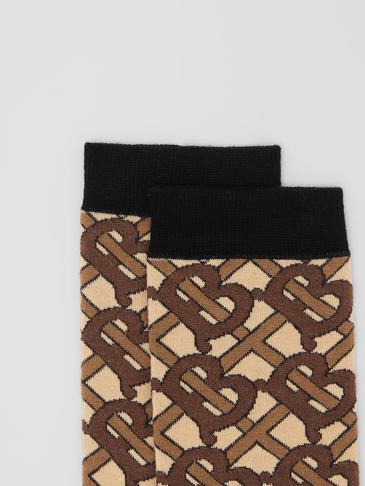Monogram Intarsia Cotton Blend Socks in Bridle Brown