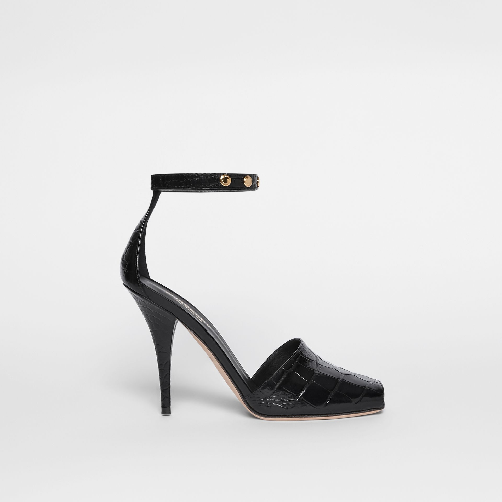 Triple Stud Embossed Leather Peep-toe Sandals in Black - Women | Burberry - gallery image 5