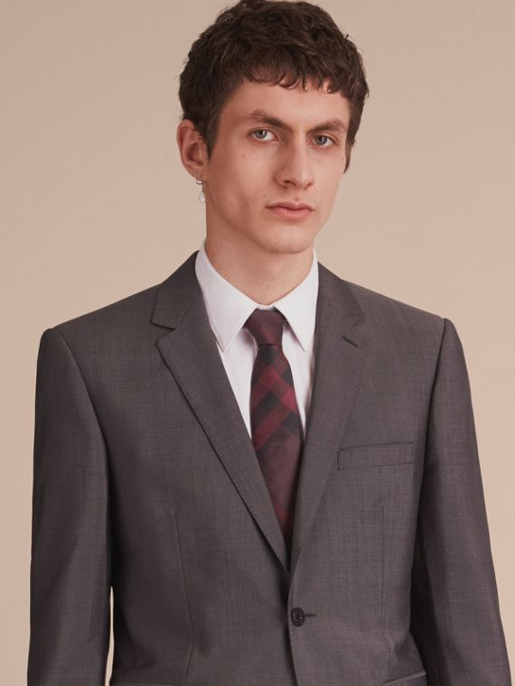 Modern Cut Check Silk Tie in Deep Claret - Men | Burberry Australia - cell image 2