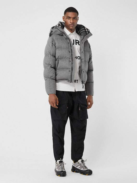 Куртка из кашемира с капюшоном и отстегивающимися рукавами (Светло-серый Меланж)