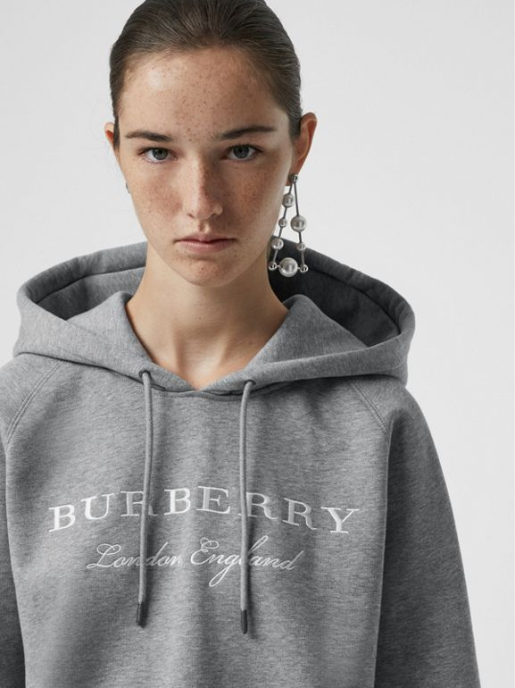Embroidered Hooded Sweatshirt in Pale Grey Melange - Women | Burberry Canada - cell image 1