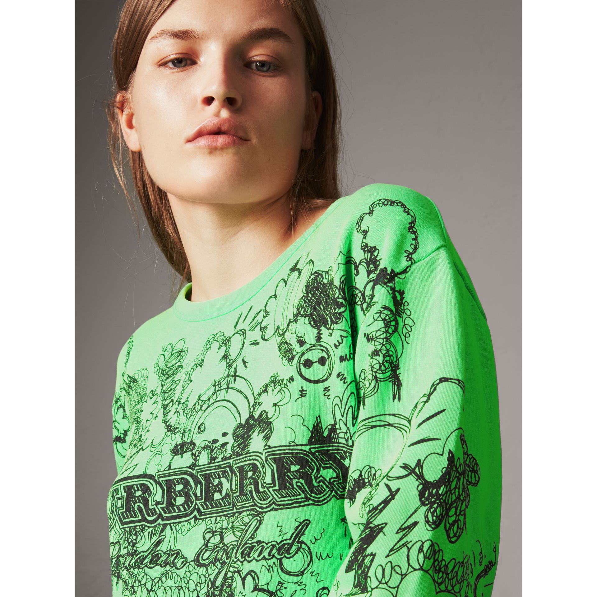 Doodle Print Cotton Sweatshirt in Bright Apple Green - Women | Burberry - gallery image 1