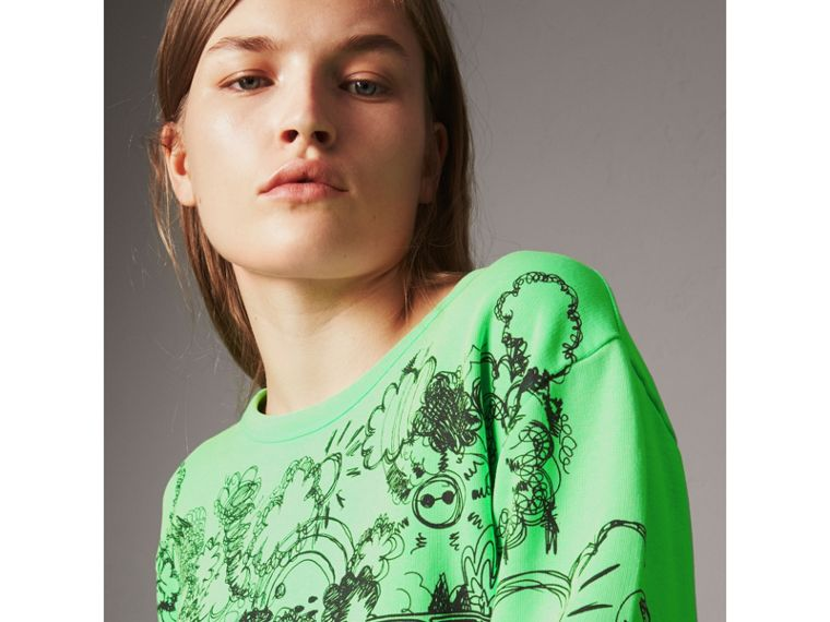 Doodle Print Cotton Sweatshirt in Bright Apple Green - Women | Burberry - cell image 1