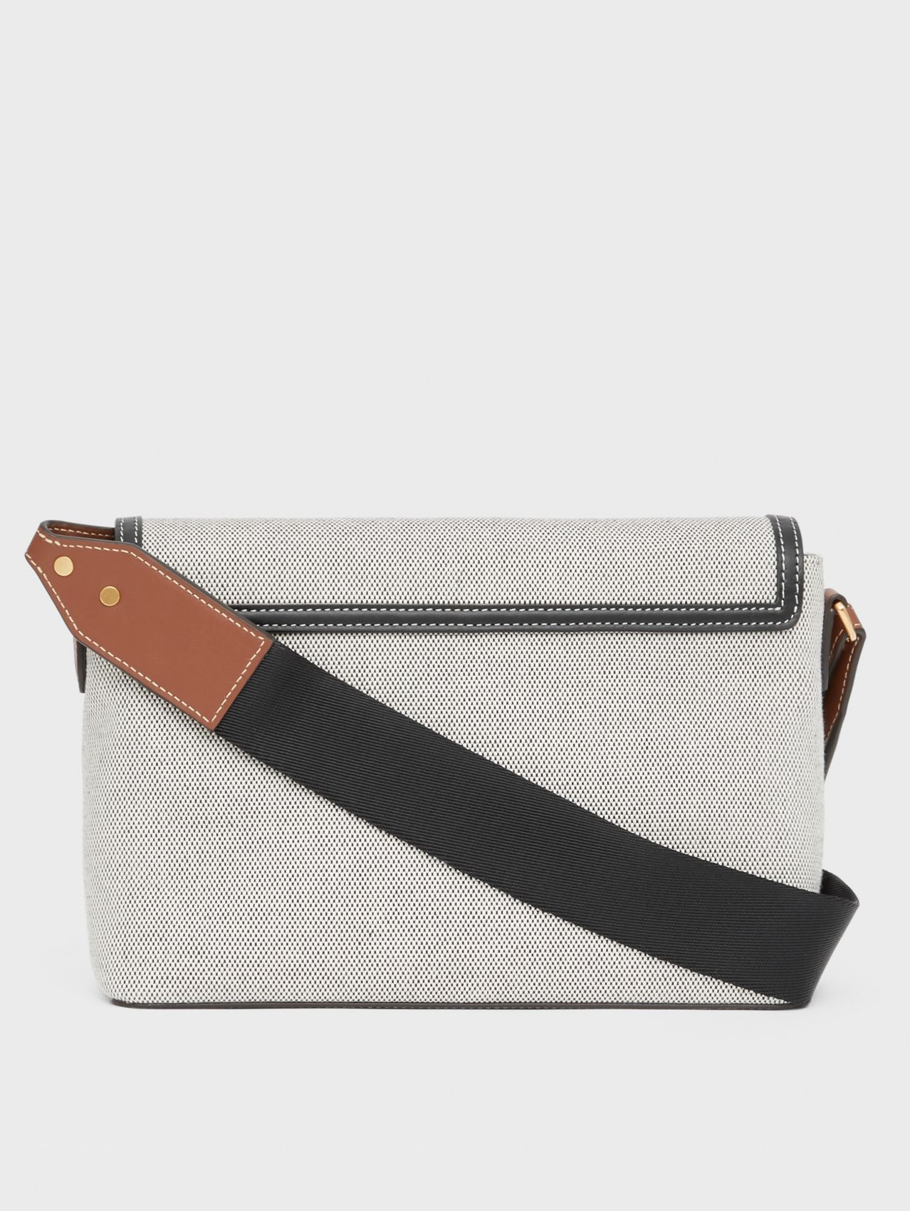 Horseferry Print Canvas Note Crossbody Bag in Black/black/tan