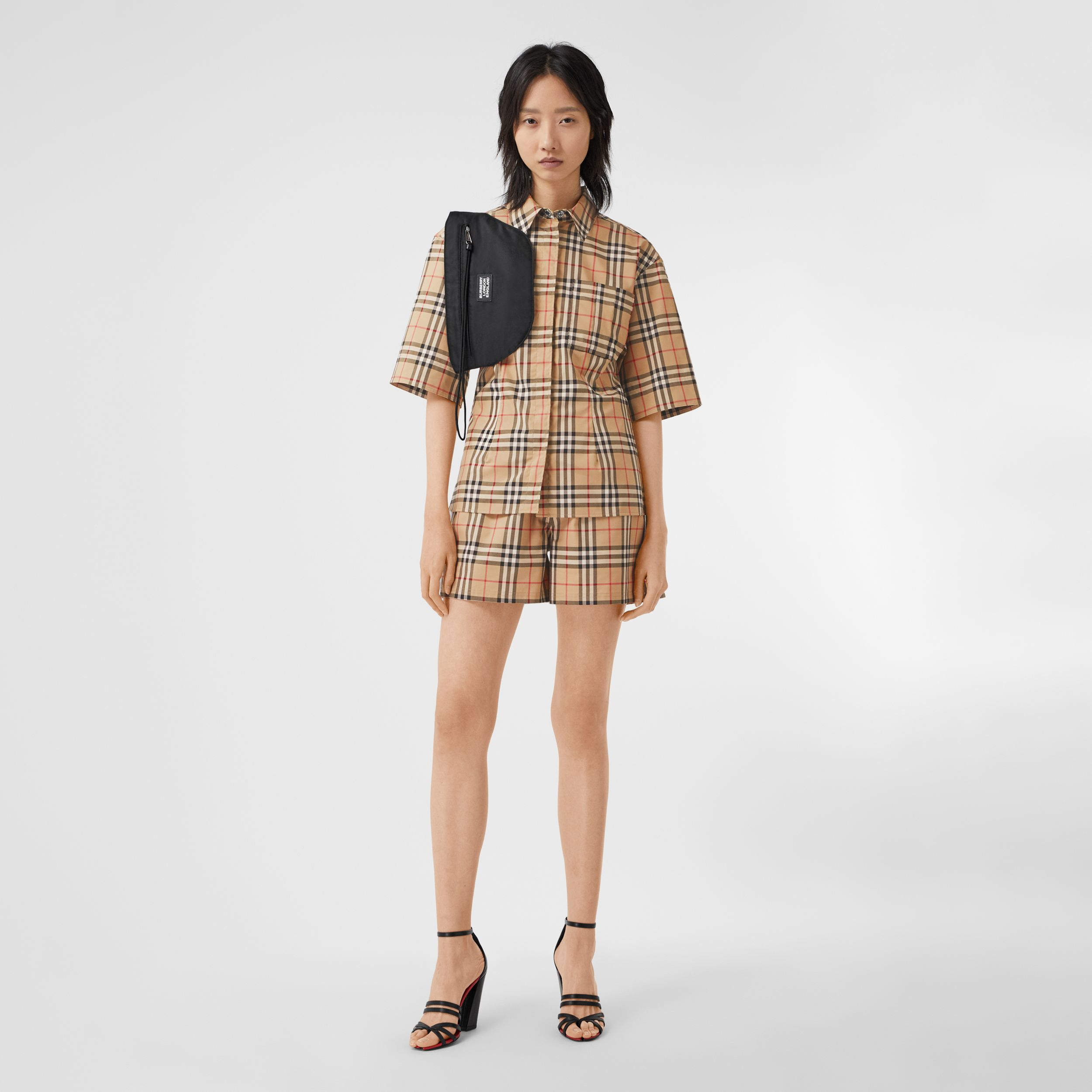 Short-sleeve Vintage Check Stretch Cotton Shirt in Archive Beige - Women | Burberry Australia - 1