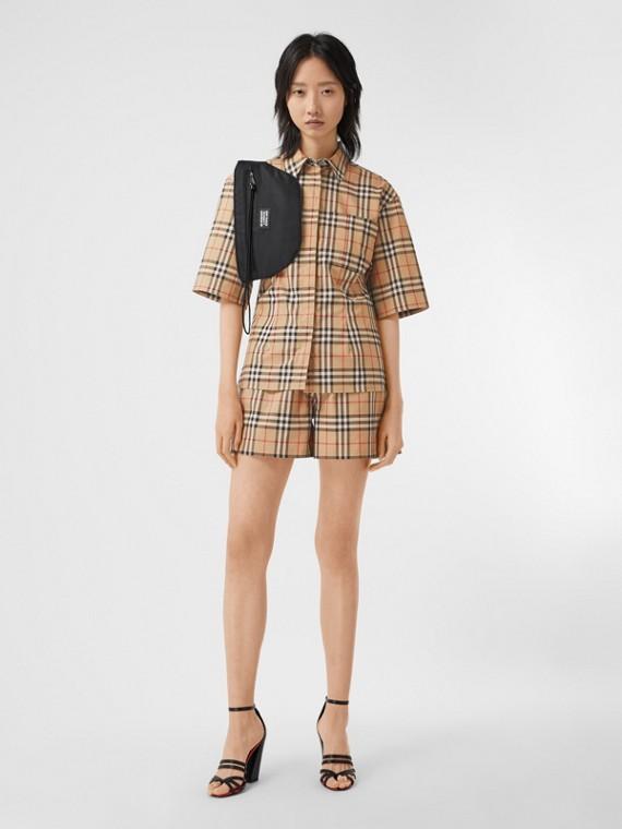 短袖 Vintage 格紋伸縮棉質襯衫 (典藏米色)