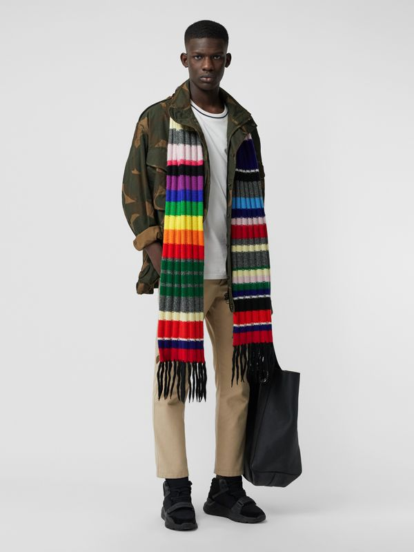 Striped Chunky Knit Cashmere Wool Blend Scarf in Multicolour | Burberry - cell image 3