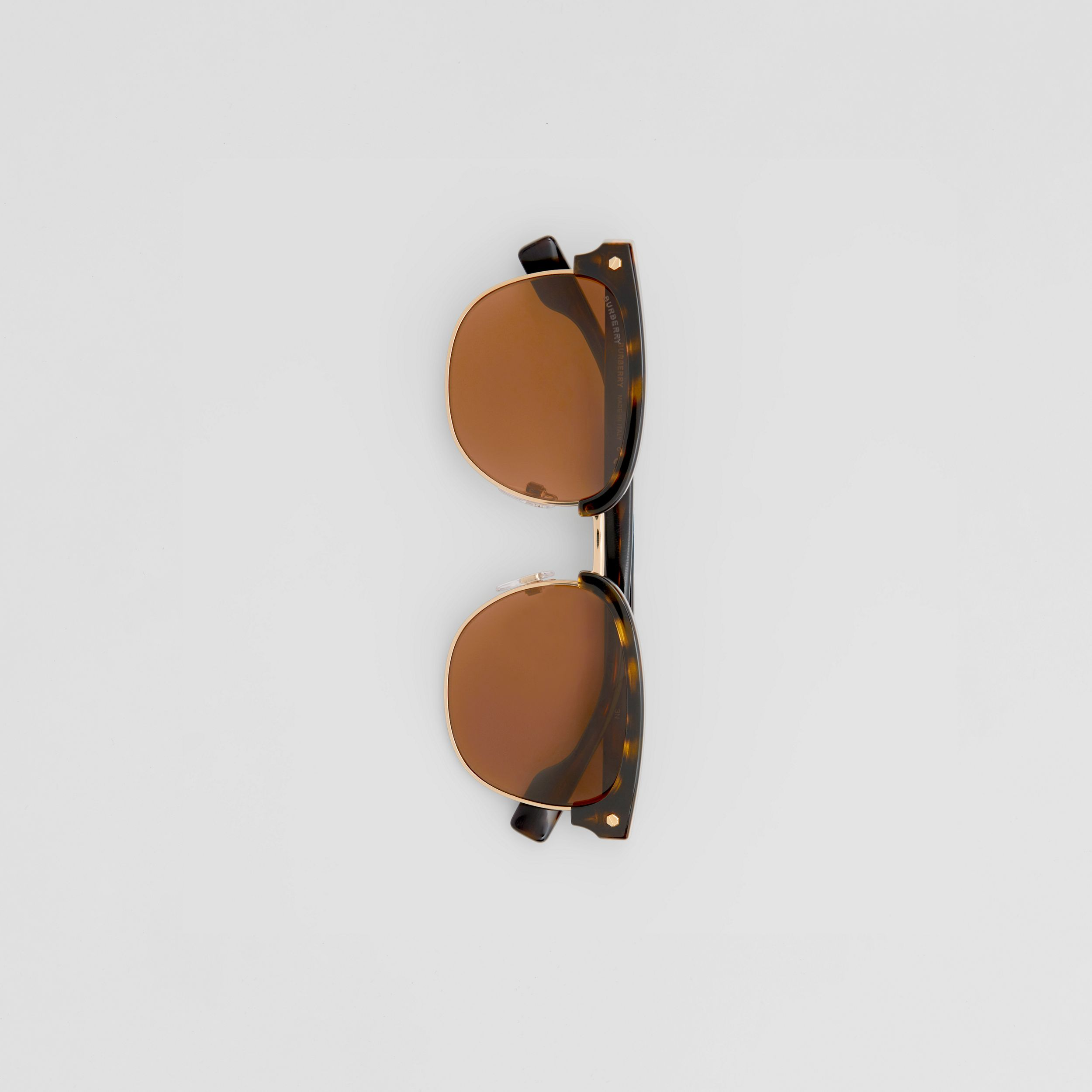 Icon Stripe Detail Square Frame Sunglasses in Tortoiseshell - Men | Burberry - 4