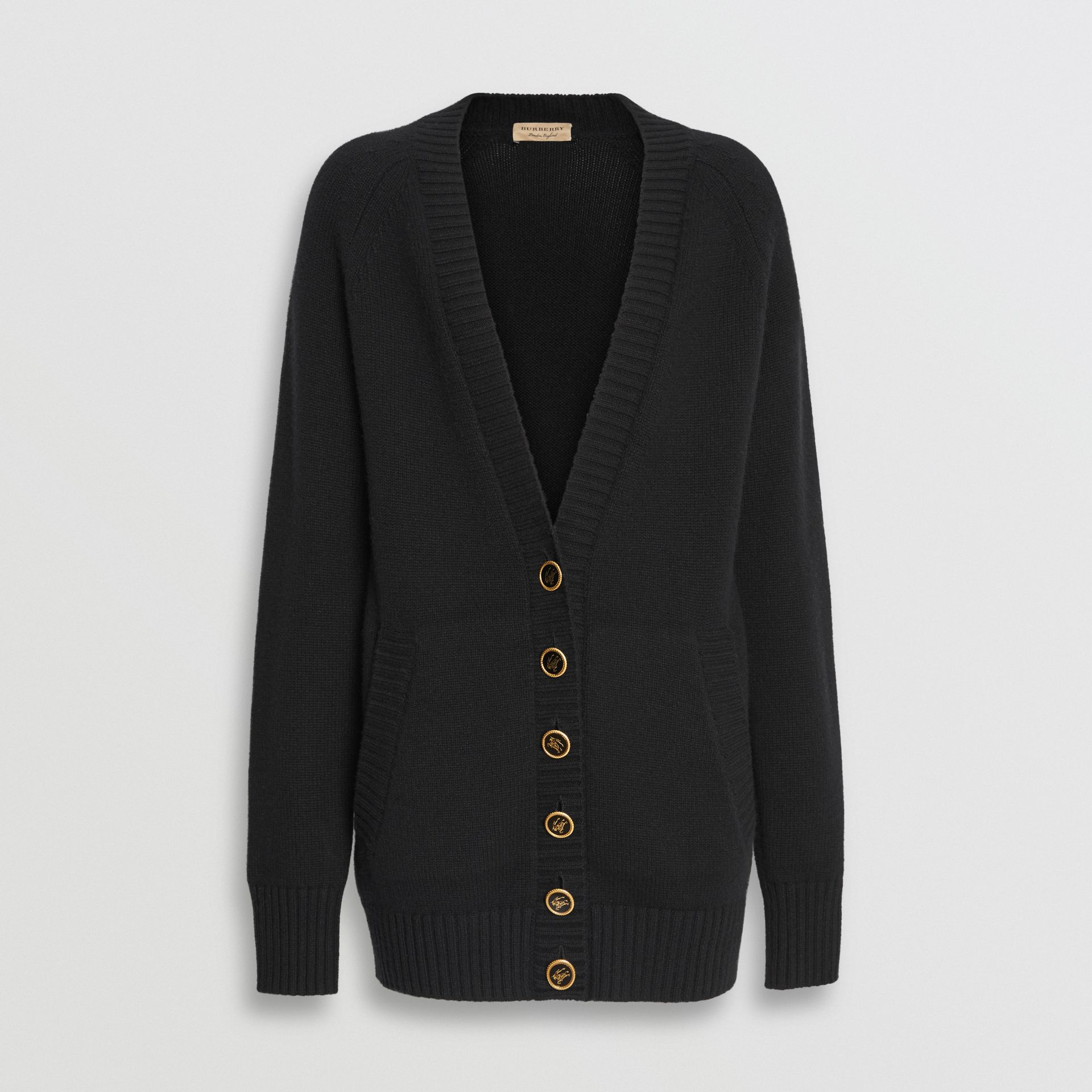 Logo Button Cashmere Cardigan in Black - Women | Burberry United States - gallery image 3