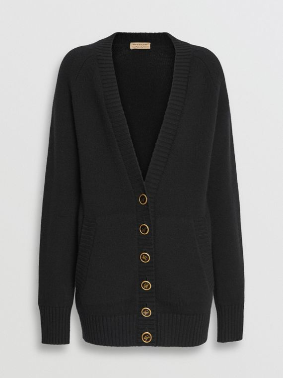 Logo Button Cashmere Cardigan in Black