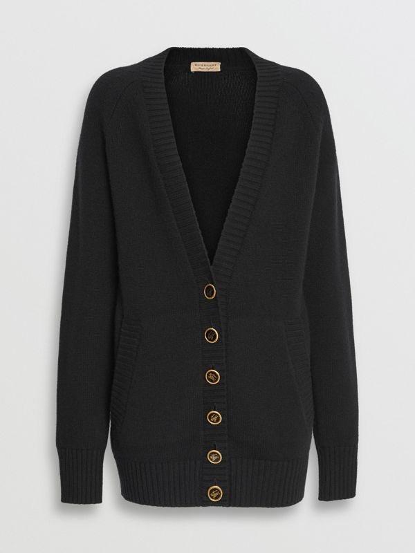 Logo Button Cashmere Cardigan in Black - Women | Burberry United States - cell image 3