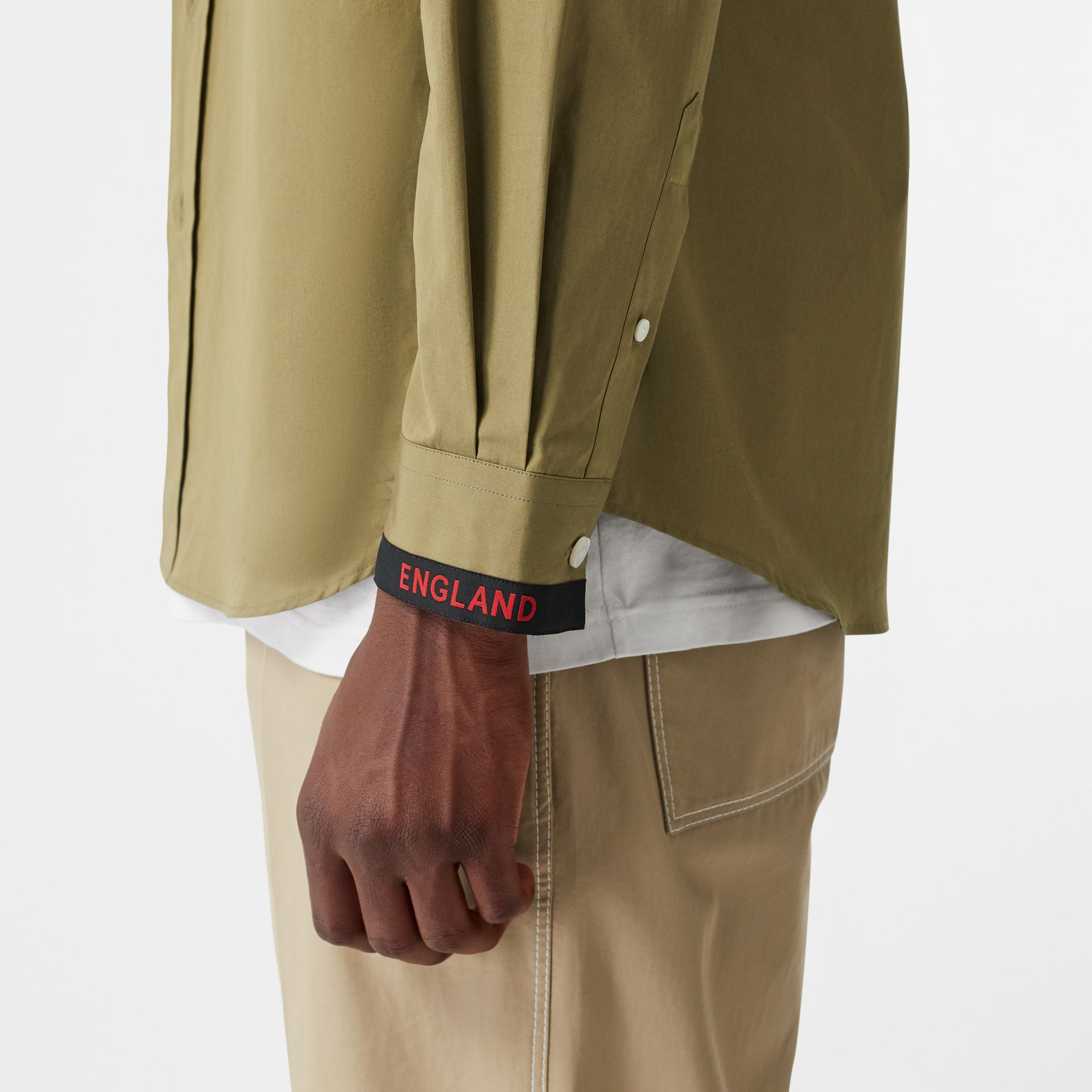 Logo Detail Cotton Poplin Shirt in Utility Green - Men | Burberry - gallery image 1