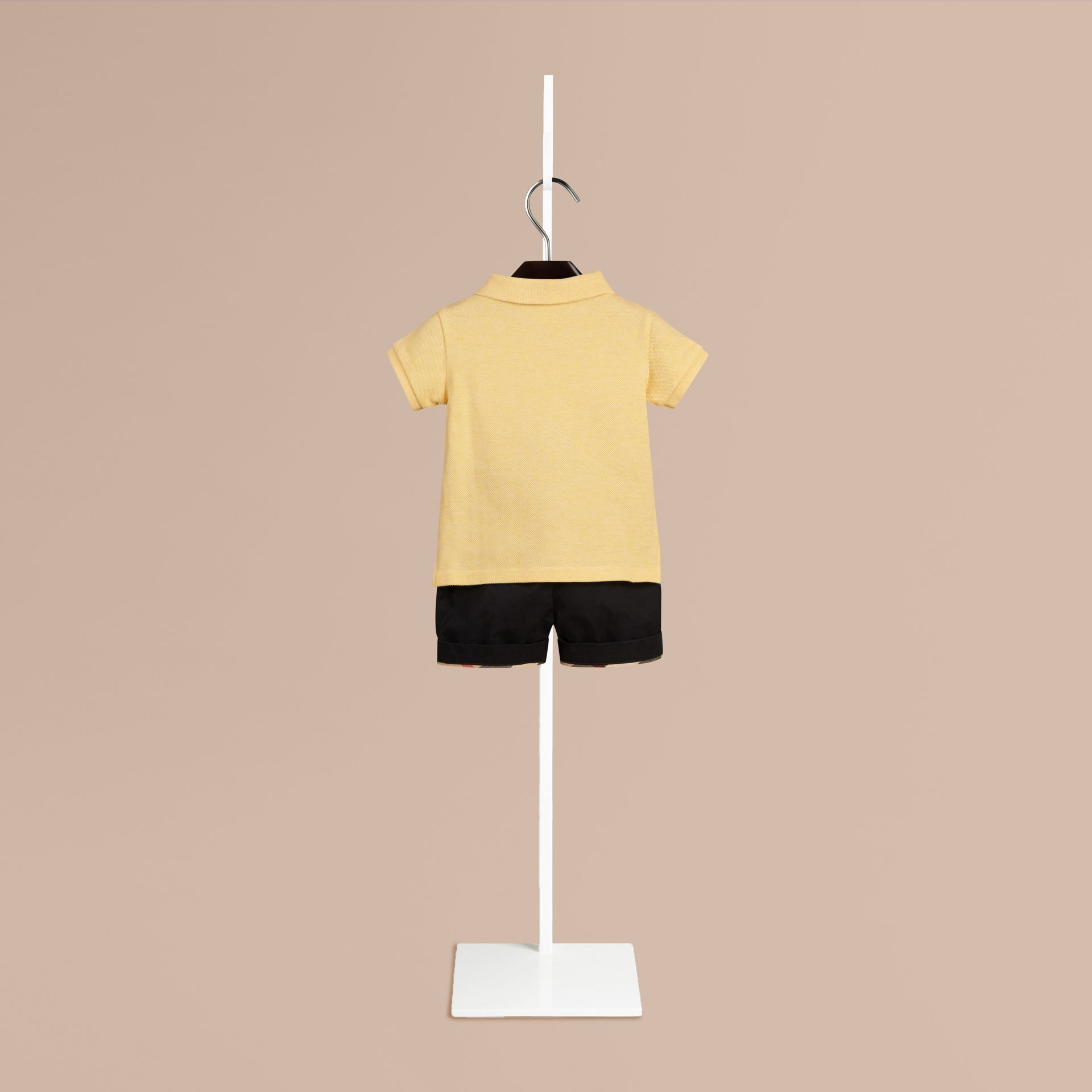 Camomile yellow melange Burberry Baby Knight Polo Shirt - gallery image 2