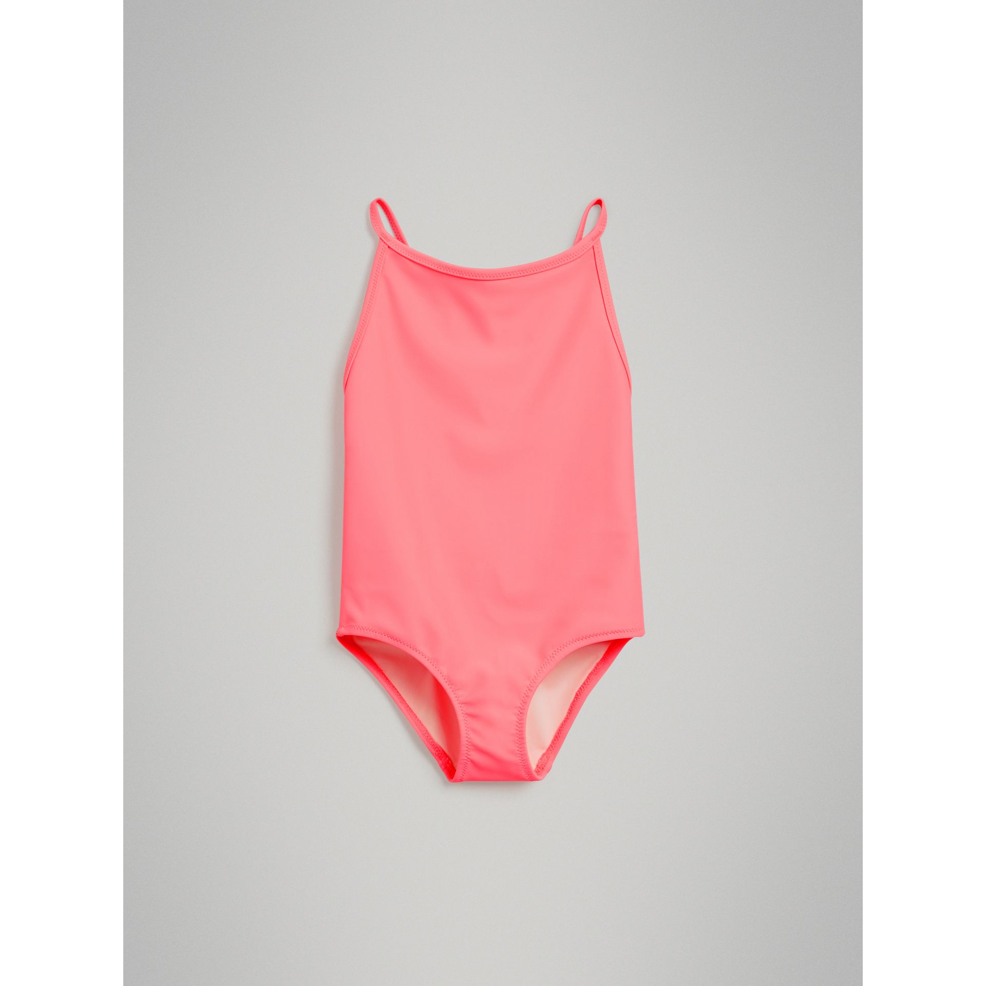 Check Piping One-piece Swimsuit in Bright Coral - Girl | Burberry - gallery image 2