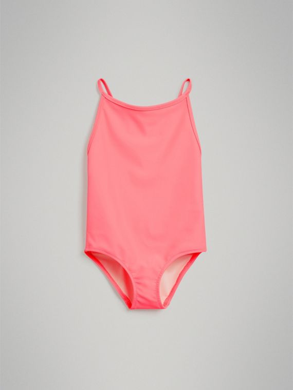 Check Piping One-piece Swimsuit in Bright Coral - Girl | Burberry - cell image 2