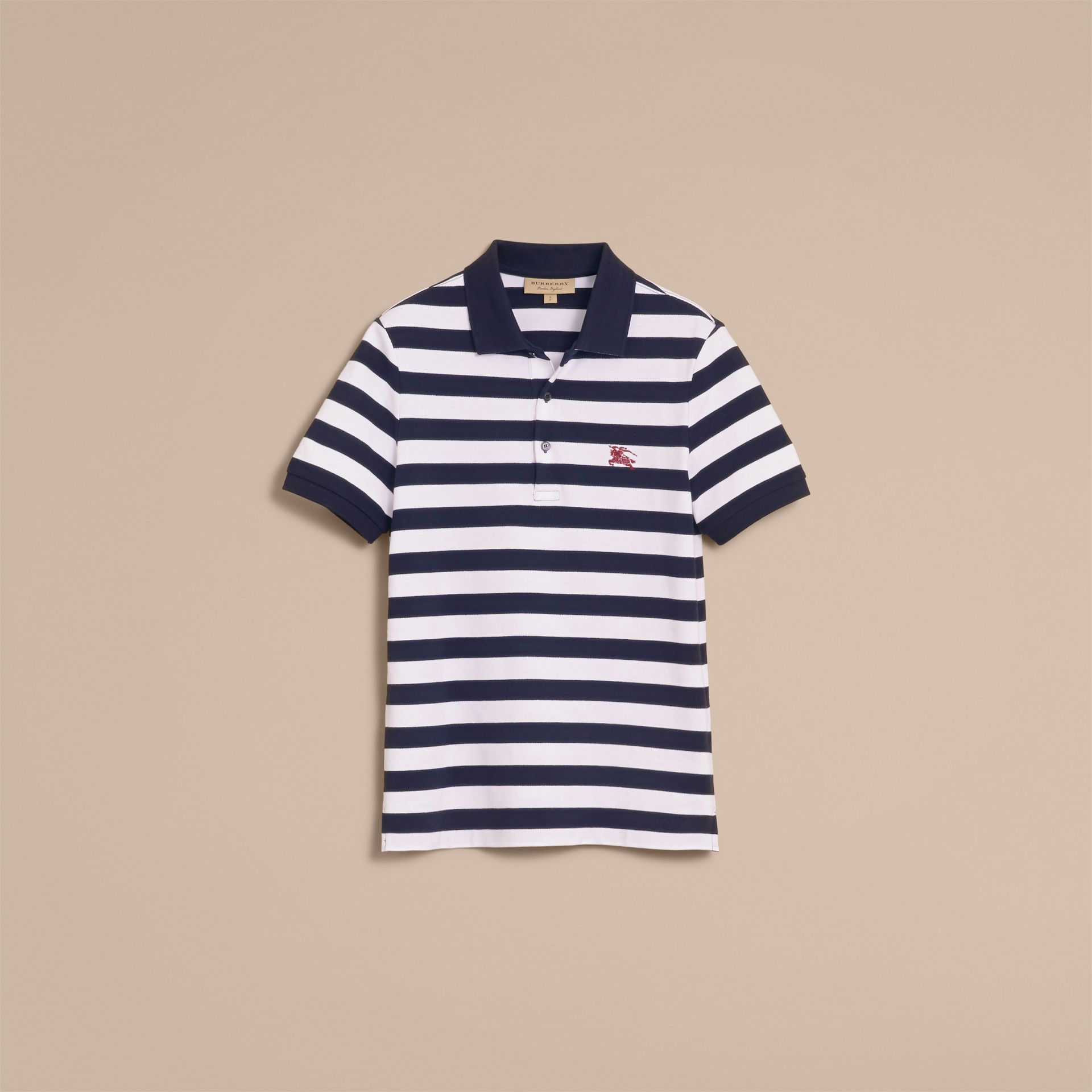 Striped Cotton Polo Shirt White/navy - gallery image 4