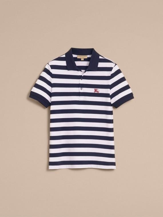 Striped Cotton Polo Shirt White/navy - cell image 3