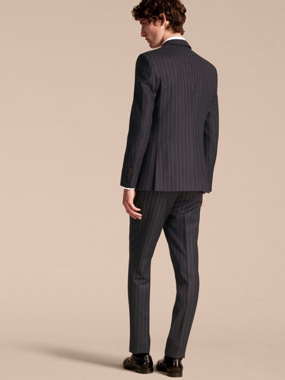 Navy Slim Fit Double-breasted Pinstripe Wool Suit - cell image 2