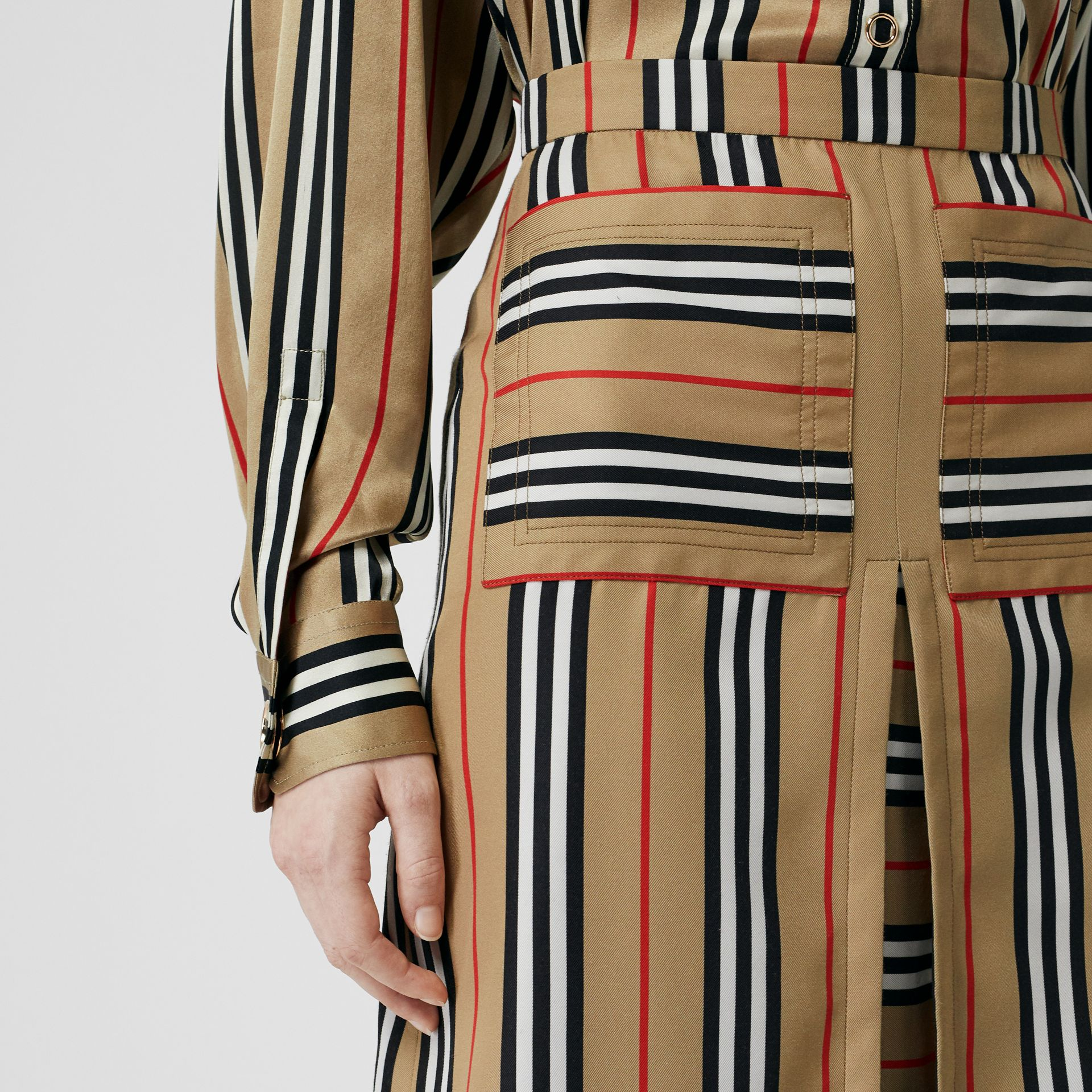 Box Pleat Detail Icon Stripe A-line Skirt in Archive Beige - Women | Burberry - gallery image 1